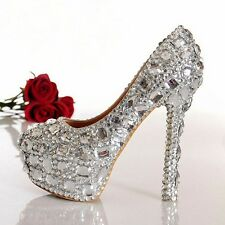 Sparkly Rhinestone Crystal Bridal Prom Heels Party Shoes 4,5,6,7,7 1/2,8, 8 1/2