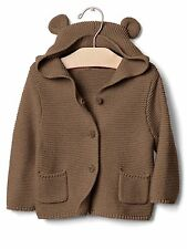 GAP Baby Boy / Girl 6-12 Months Tan / Brown Bear Cardigan Hoodie Sweater w/Ears