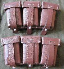 WWII GERMAN WAFFEN HEER ARMY K98 RIFLE BROWN LEATHER AMMO POUCHES-PAIR