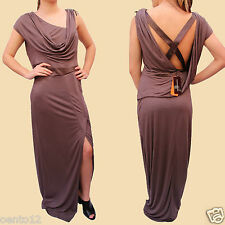 KAREN MILLEN Taupe Brown Drape Open Back Cocktail Evening Gown Maxi Dress 12 UK