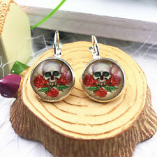 Hot 1 pair Handmade skull Glass Cabochon French Dangle Earrings EH10