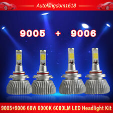 4PCS 9006 9005 LED Total 120W 12000LM Combo Headlight High Power 6000K White Kit