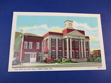 City Hall And Fire Department Clifton Forge V.A Vintage Colorful Postcard PC18