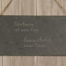"""Schieferschild """"Gärtnern ist mein Yoga [...]"""" Geschenkidee Deko Garten Schild"""