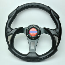Woo Universial 320mm 6 Bolts PU+PVC Racing Steering Wheel Blue With Horn Button