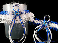 DELUXE Set ROYAL BLUE Silver & White GARTER + TOSS Feathers Prom Wedding Bridal