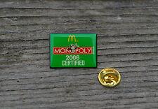 McDonald's M Monopoly 2006 Certified Pin Pinback Hasbro Gold Tone Metal Green
