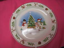 "VINTAGE CHRISTMAS SNOWMAN DINNER COOKIE PLATE 10 1/2"" d CHINA"