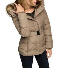 ESPRIT down jacket with belt + fake fur hood Ladies Coat UK 10 Taupe Box1478 a