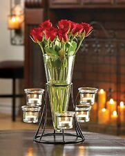 10 CIRCULAR CANDLE STAND WITH VASE WEDDING EVENT TABLE CENTERPIECES NEW~10015367