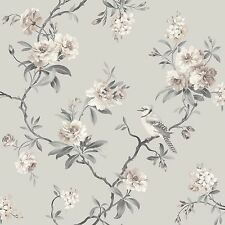 CHINOISERIE BIRD WALLPAPER - GREY - FD40764 - FINE DECOR ROOM