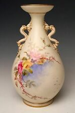 Stunning Graingers Royal Worcester Vase Hand Painted Sky & Roses dated 1892