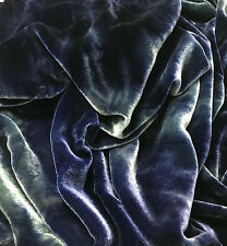 "Hand Dyed Silk VELVET Fabric MIDNIGHT BLUE GREEN fat 1/4 18""x22"" remnant"