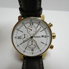 Fossil BQ1009 Men's Brown Leather Strap White Dial Watch - WORKS GREAT
