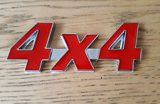 Red & Silver Chrome 3D 4X4 Metal Badge Sticker for Fiat Grande Punto Evo Panda