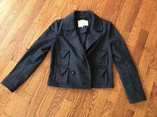 Women's Alexa Chung For Madewell Navy Blue Wool Blend Cropped Jacket Size Small