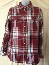 Boys/Teen First Wave Button Long Sleeve 100% Cotton Plaid Shirt Sz 16 Red Multi