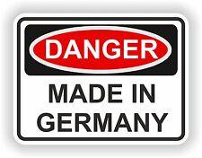 Peligro Hecho En Alemania advertencia Funny pegatina de vinilo de Puerta De Interior parachoques Motocicleta