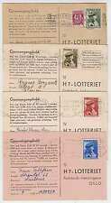 C4580: Norway #B43-B46 on (4) 1946 Lottery Cards