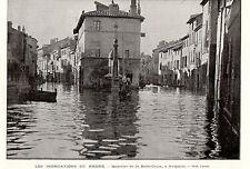 84 AVIGNON INONDATION RHONE QUARTIER DE LA BELLE CROIX FLOOD IMAGE 1896 PRINT