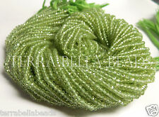 "Full 13"" strand AAA PERIDOT micro faceted gem stone rondelle beads 3mm"