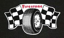 Firestone Checkered Flag Tire Sticker, Vintage Sports Car Racing Decal