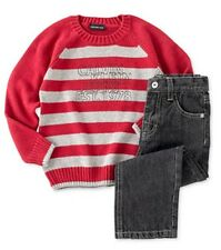 NWT Baby Boys 2pc CALVIN KLEIN Outfit Set Red & Gray Striped Sweater Jeans 12 Mo