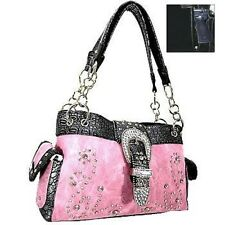 Western Scroll Conceal Handgun Carry Handbag Purse Rhinestone Buckle Pink