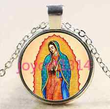 Our Lady of Guadalupe Cabochon Tibetan silver Glass Chain Pendant Necklace #2126