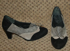 ZIERA Black Gray Taupe Suede Leather Spectator Pumps Heels Shoes 37 6 6.5