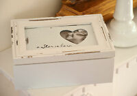 Wooden White Storage Trinket Jewellery Box Heart Photo Frame Chic Shabby Style