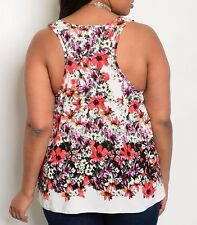 Size 3X TANK TOP SHIRT Womens Plus FLORAL White Red Purple Black BANABEE New
