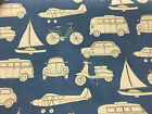 Boys Toys Blue Cars/ Planes/Scooters/campervan EtccCotton Curtain/Craft Fabric