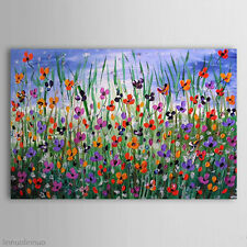 Hand Painted Floral Modern Abstract Huge Oil Painting Canvas No Frame