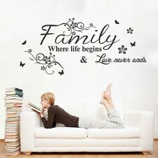 Spring Family Where Life Begins Mural Wall Sticker Quote Words Decal Vinyl Decor