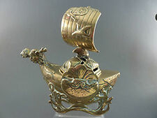 JAPANESE POLISHED BRONZE DRAGON BOAT INCENSE BURNER