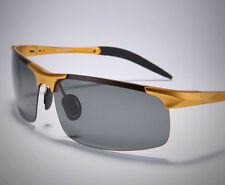 HOT Aluminum Magnesium Alloy Man's Polarized Sunglasses Outdoor UV400 Gold Frame