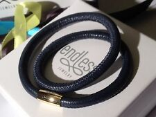 Endless Jewelry 38cm Blue Bracelet Double Strand Yellow Clasp rrp £50