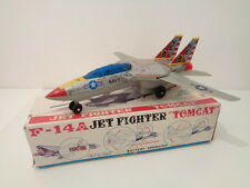 "VINTAGE TINPLATE F-14a JET FIGHTER ""TOMCAT"" BATTERY OPERATED -SON AI TOYS- WORKS"
