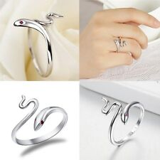 Lady Fashion Jewelry Sterling Silver Plated Snake Opening Adjustable Finger Ring