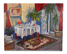 COLORFUL FAUVIST PAINTERLY INTERIOR SCENE OIL PAINTING BY ARTIST NICKLUS 16X20