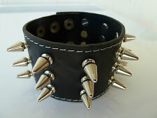 Mens/Womens leather Biker/Skull/Gothic/ quality black bracelet/wrist band, NWT