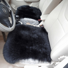 "2X Genuine Sheepskin Long Wool Car Seat Covers Chair cushion 18''×18"" BLACK"