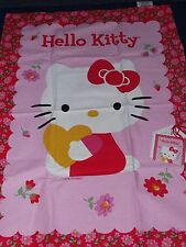 HELLO KITTY CAT LARGE COTTON TEA TOWEL FLOWERS GIFT CHRISTMAS PINK TEATOWEL