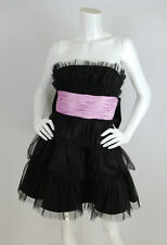 Betsey Johnson Sz 0 XS Dress Black Tulle Skirt Pink Bow Strapless Cocktail Prom
