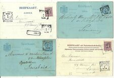 1895/1904  4 x NETHERLANDS INDIES SQUARED CIRCLES ON POSTAL STATIONERY CARDS