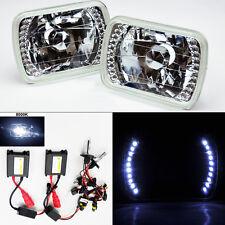 """7X6"""" 8000K HID Xenon H4 Clear LED DRL Glass Headlight Conversion Pair RH LH"""