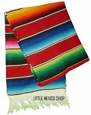 RED MULTI SERAPE Mexican Blanket SOUTHWESTERN 5' x 7' Falsa Serape Yoga Throw