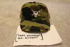 *NEW* DS Bape x Stussy Green Camo Skull 30th Anni. Trucker Hat - A Bathing Ape