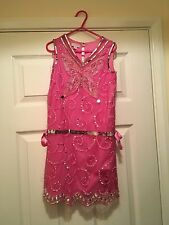 Monsoon Pink Sequins Butterfly Dropped Waist Lined Dress 6-7 Years Beautiful